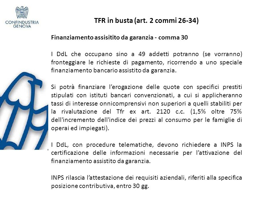 TFR in busta (art. 2 commi 26-34)