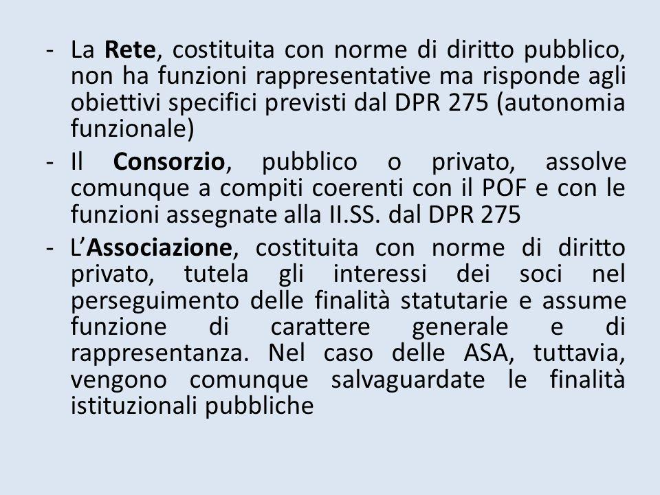 La Rete, costituita con norme di diritto pubblico, non ha funzioni rappresentative ma risponde agli obiettivi specifici previsti dal DPR 275 (autonomia funzionale)