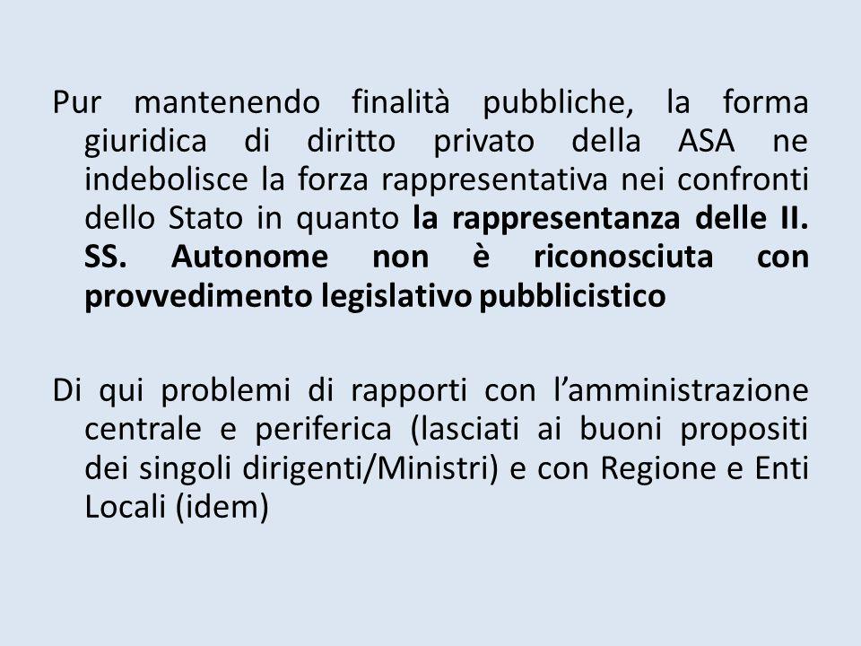 Pur mantenendo finalità pubbliche, la forma giuridica di diritto privato della ASA ne indebolisce la forza rappresentativa nei confronti dello Stato in quanto la rappresentanza delle II.