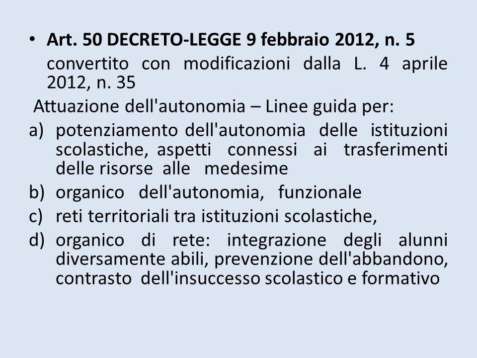 Art. 50 DECRETO-LEGGE 9 febbraio 2012, n. 5