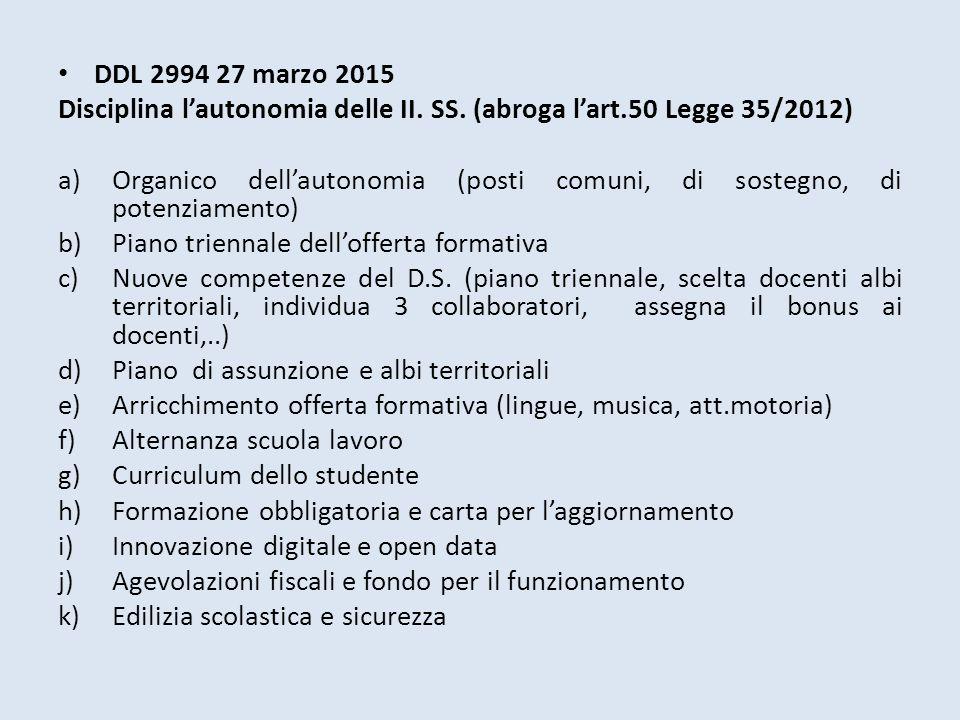 DDL 2994 27 marzo 2015 Disciplina l'autonomia delle II. SS. (abroga l'art.50 Legge 35/2012)