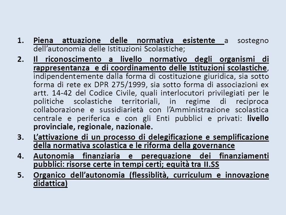 Piena attuazione delle normativa esistente a sostegno dell'autonomia delle Istituzioni Scolastiche;