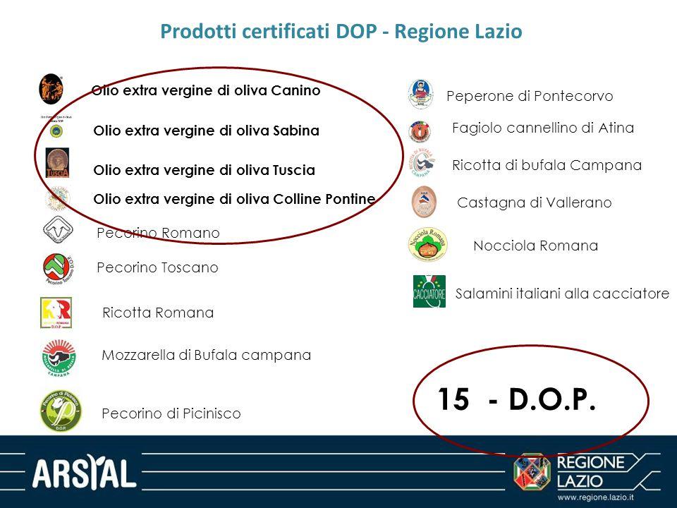 Prodotti certificati DOP - Regione Lazio