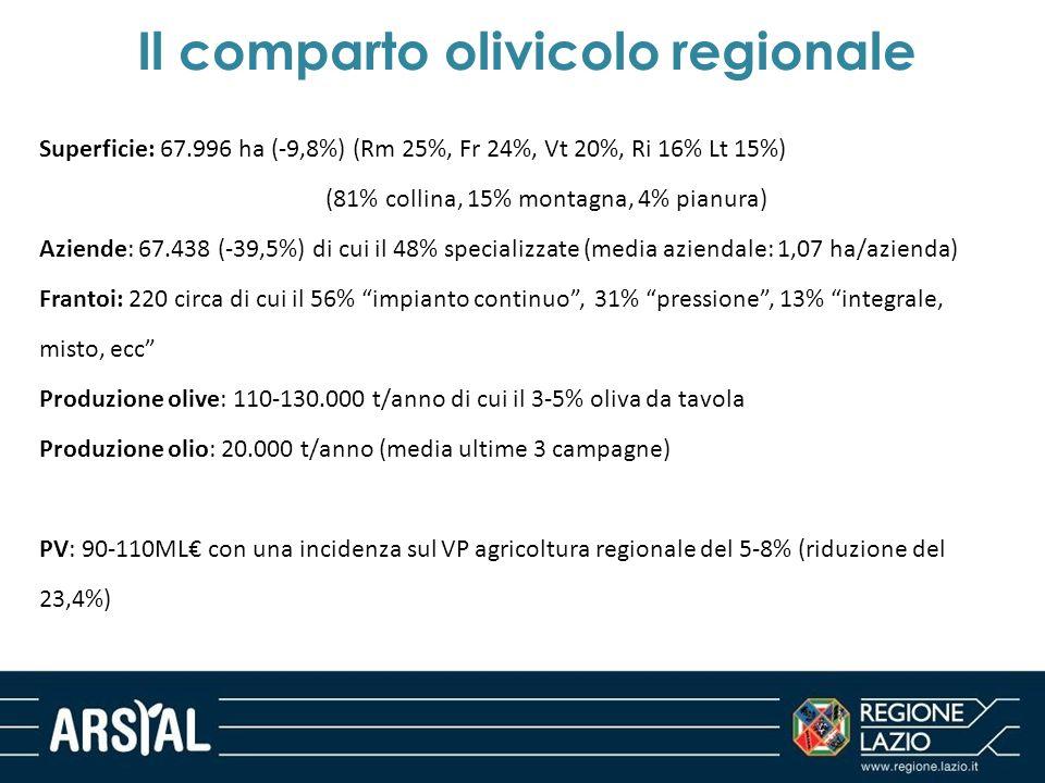 Il comparto olivicolo regionale