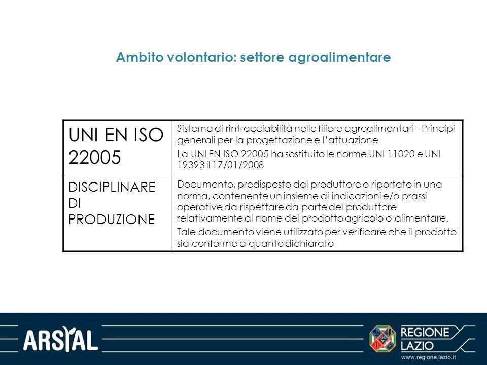 Ambito volontario: settore agroalimentare