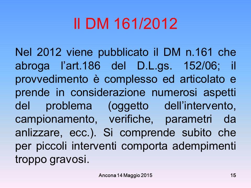 Il DM 161/2012
