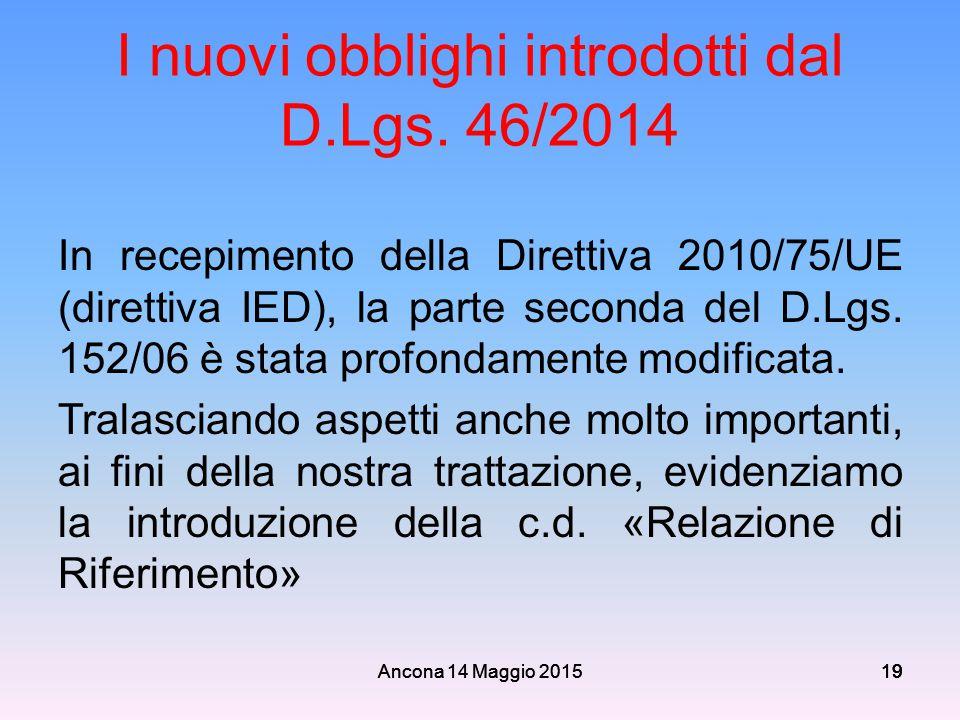I nuovi obblighi introdotti dal D.Lgs. 46/2014