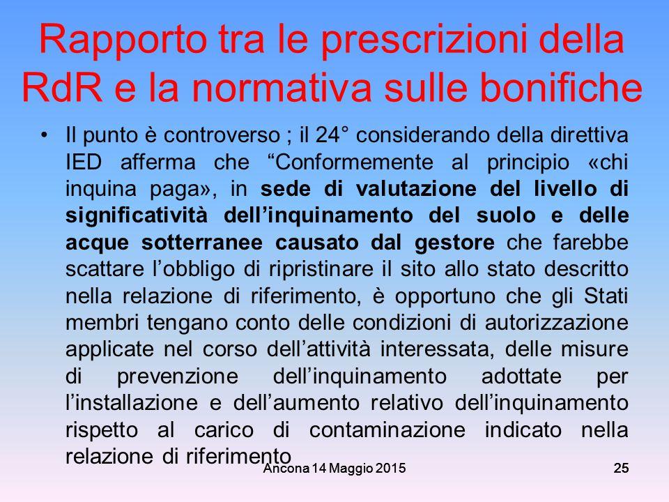 Rapporto tra le prescrizioni della RdR e la normativa sulle bonifiche