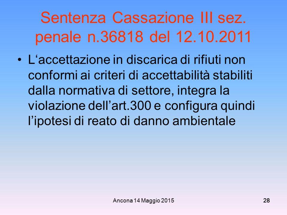 Sentenza Cassazione III sez. penale n.36818 del 12.10.2011
