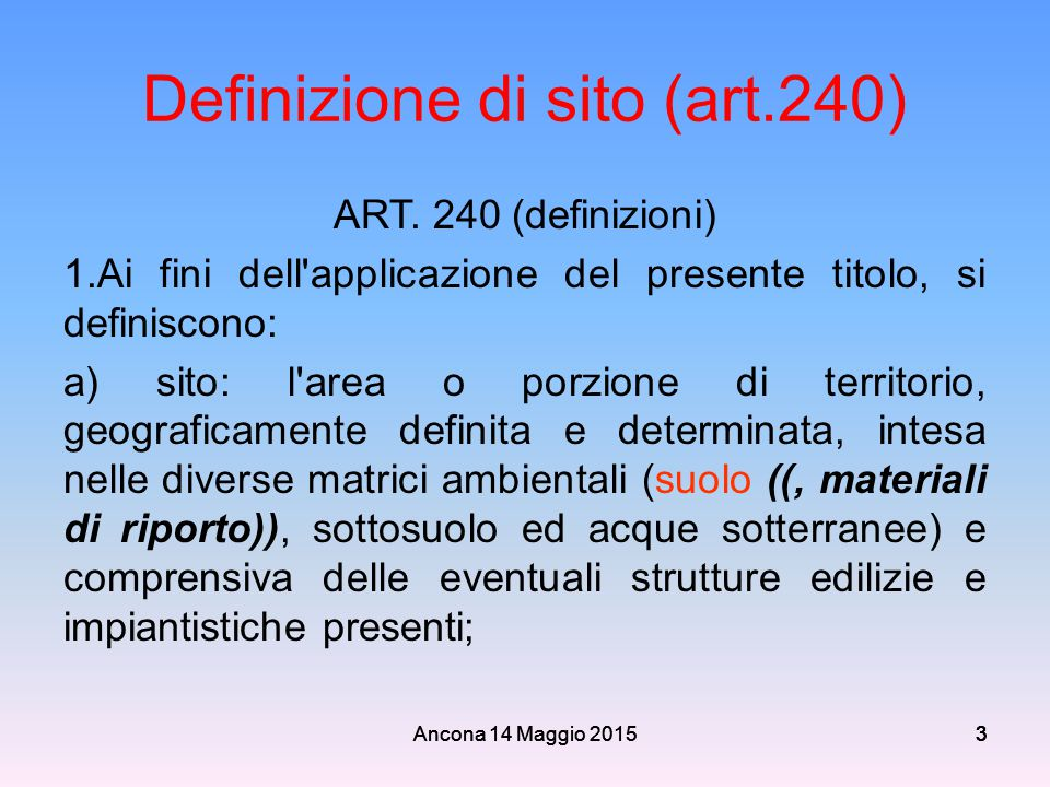 Definizione di sito (art.240)