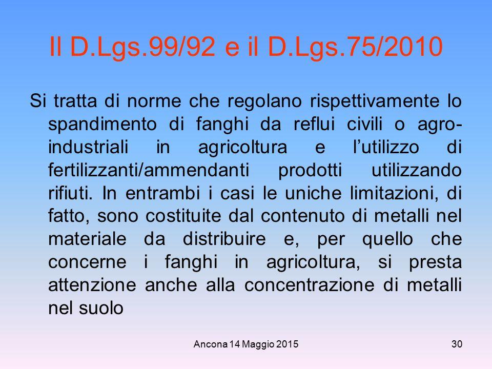 Il D.Lgs.99/92 e il D.Lgs.75/2010