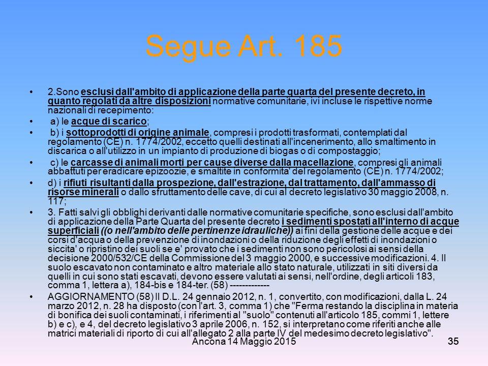 Segue Art. 185