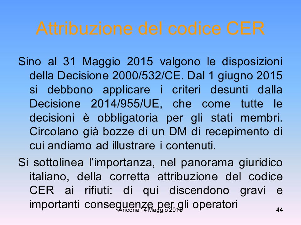 Attribuzione del codice CER