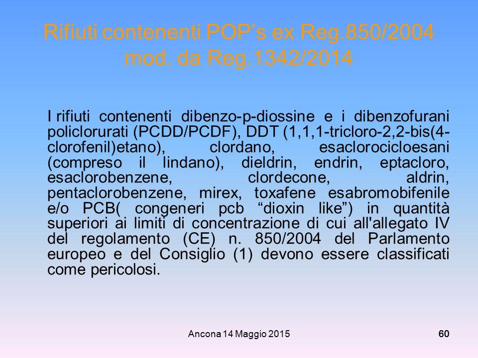 Rifiuti contenenti POP's ex Reg.850/2004 mod. da Reg.1342/2014