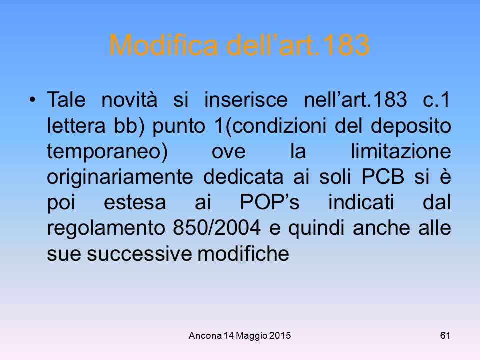 Modifica dell'art.183