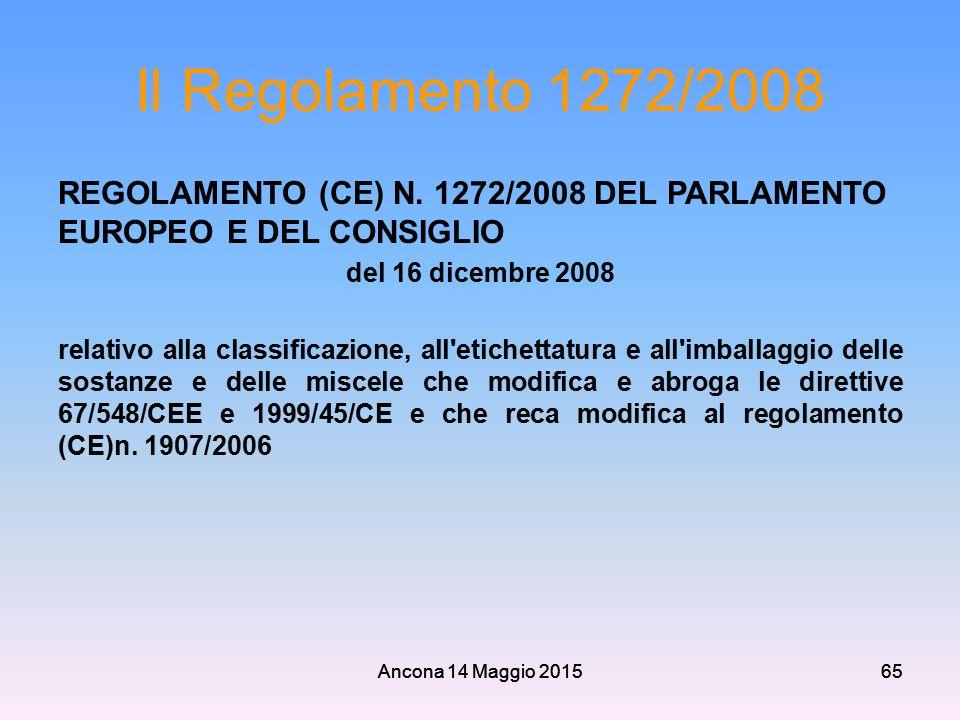 Il Regolamento 1272/2008 REGOLAMENTO (CE) N. 1272/2008 DEL PARLAMENTO EUROPEO E DEL CONSIGLIO. del 16 dicembre 2008.