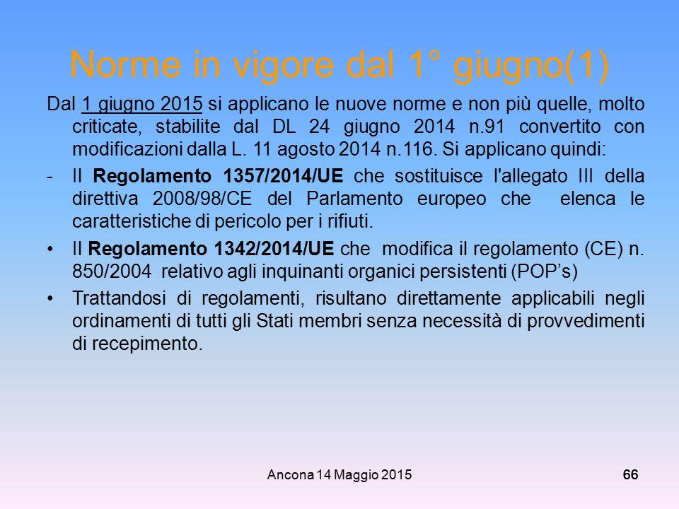 Norme in vigore dal 1° giugno(1)