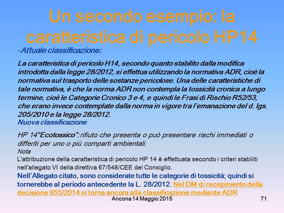 Un secondo esempio: la caratteristica di pericolo HP14