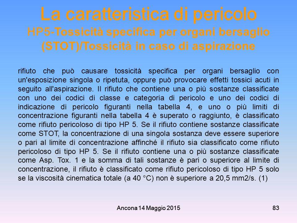 La caratteristica di pericolo HP5-Tossicità specifica per organi bersaglio (STOT)/Tossicità in caso di aspirazione