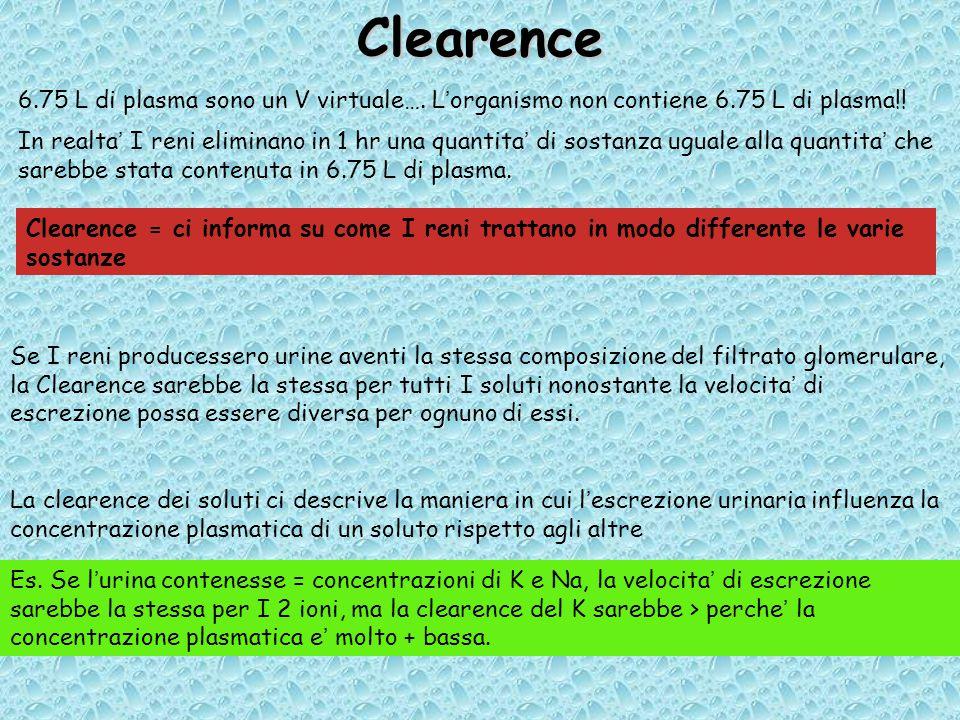 Clearence 6.75 L di plasma sono un V virtuale…. L'organismo non contiene 6.75 L di plasma!!