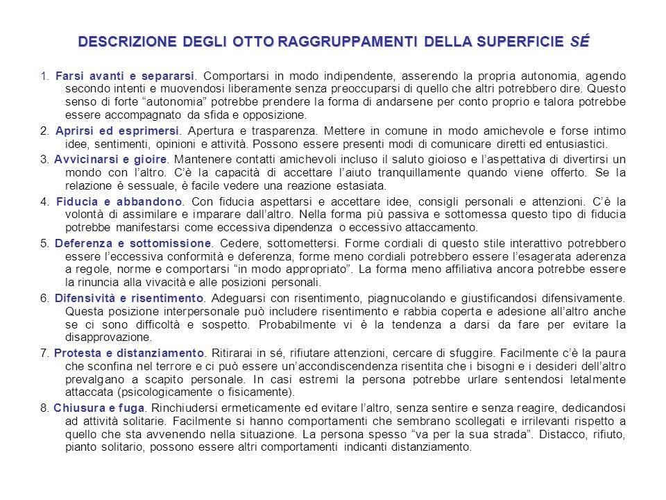 DESCRIZIONE DEGLI OTTO RAGGRUPPAMENTI DELLA SUPERFICIE SÉ