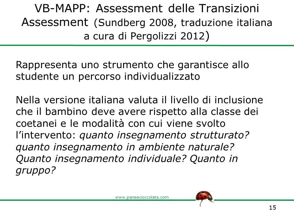 VB-MAPP: Assessment delle Transizioni Assessment (Sundberg 2008, traduzione italiana a cura di Pergolizzi 2012)