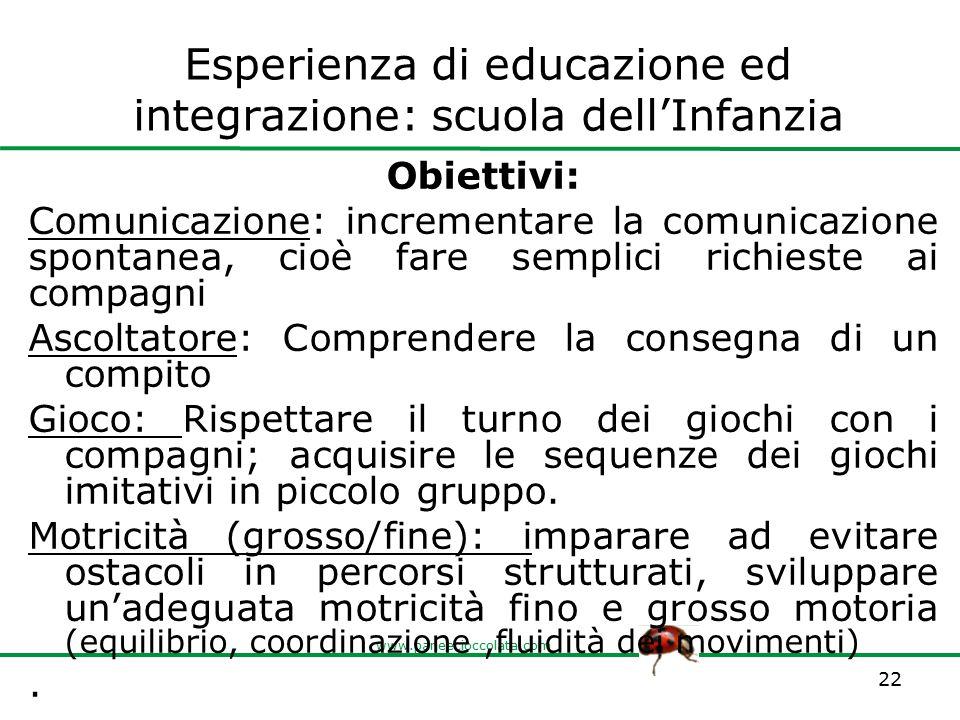 Esperienza di educazione ed integrazione: scuola dell'Infanzia