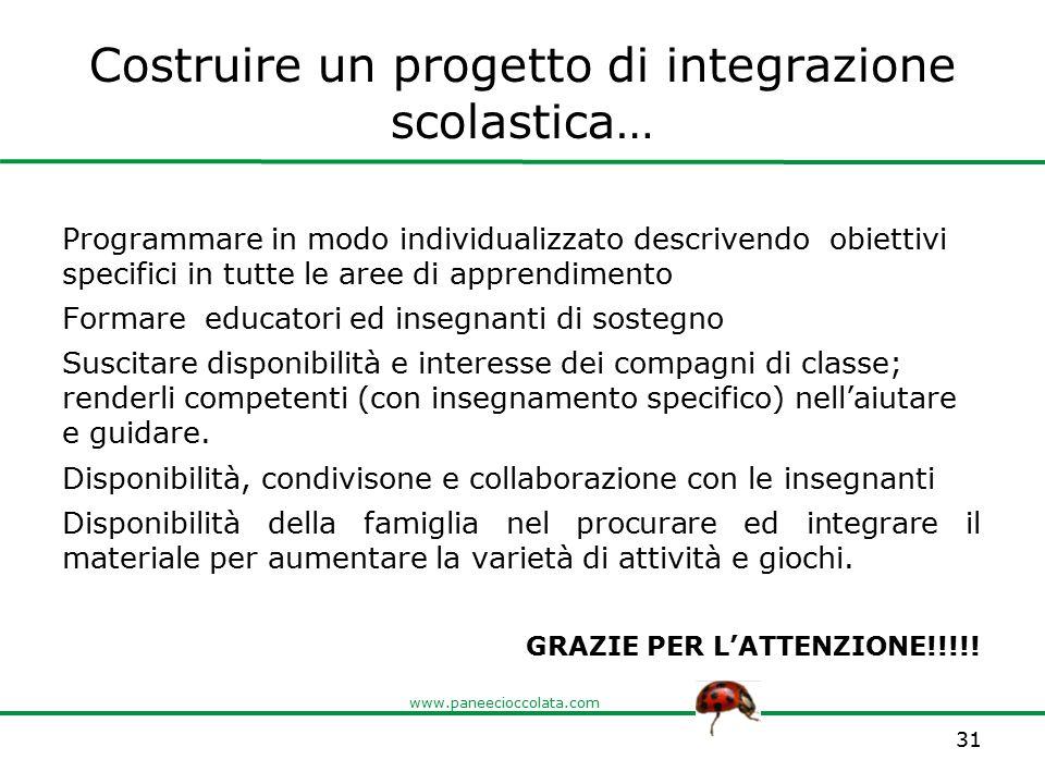 Costruire un progetto di integrazione scolastica…