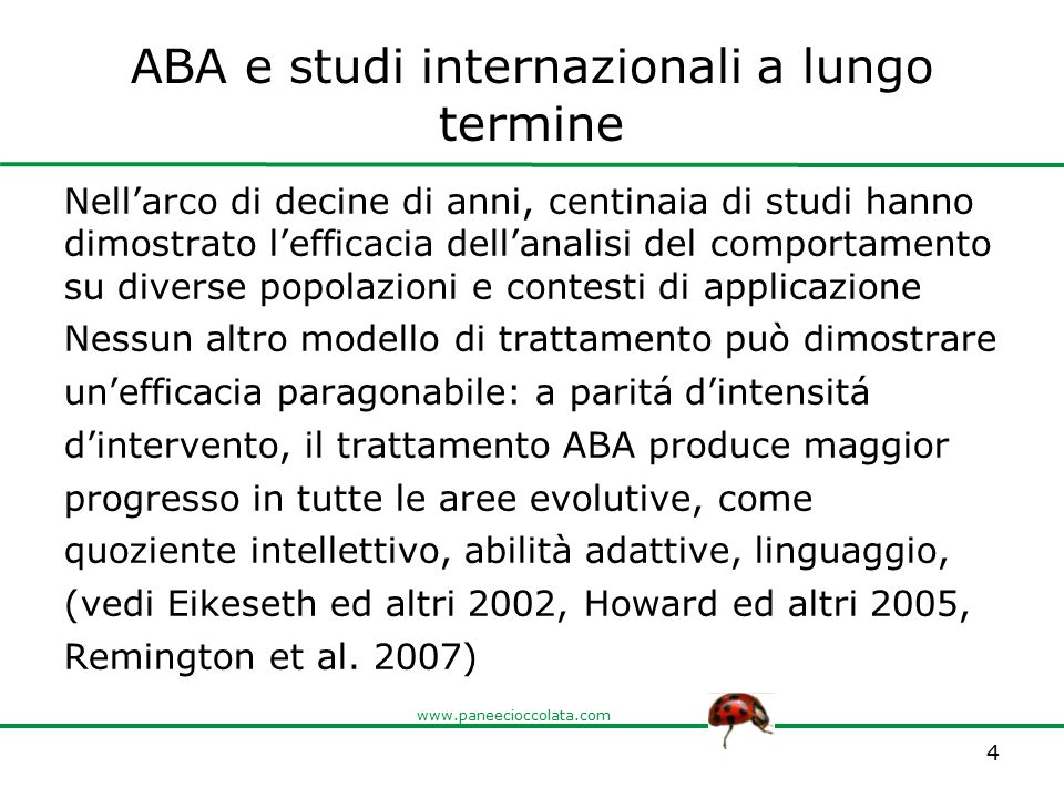 ABA e studi internazionali a lungo termine