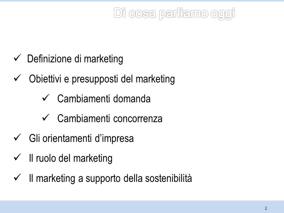 Di cosa parliamo oggi Definizione di marketing