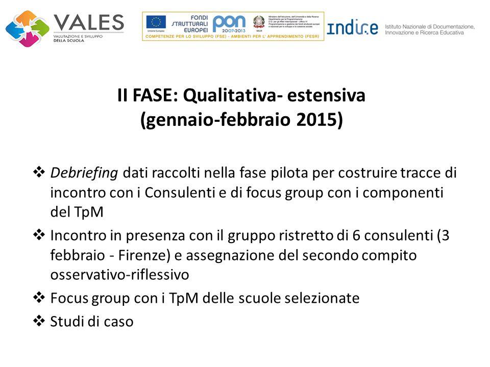 II FASE: Qualitativa- estensiva (gennaio-febbraio 2015)