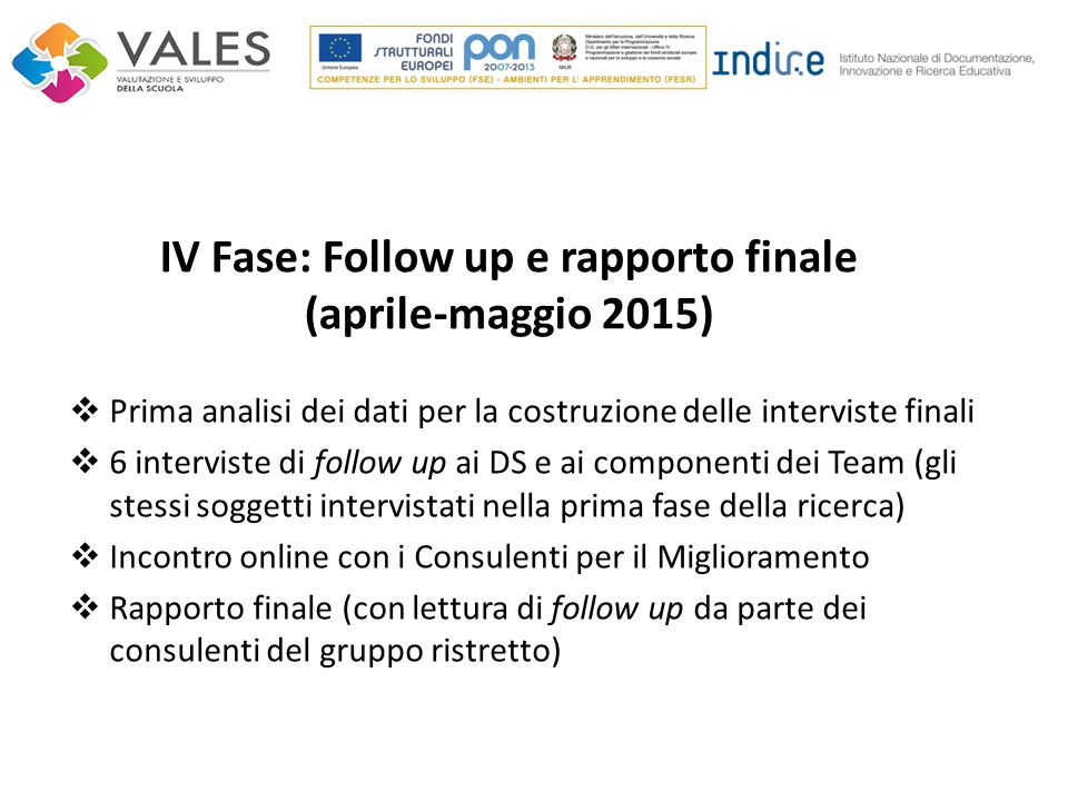 IV Fase: Follow up e rapporto finale