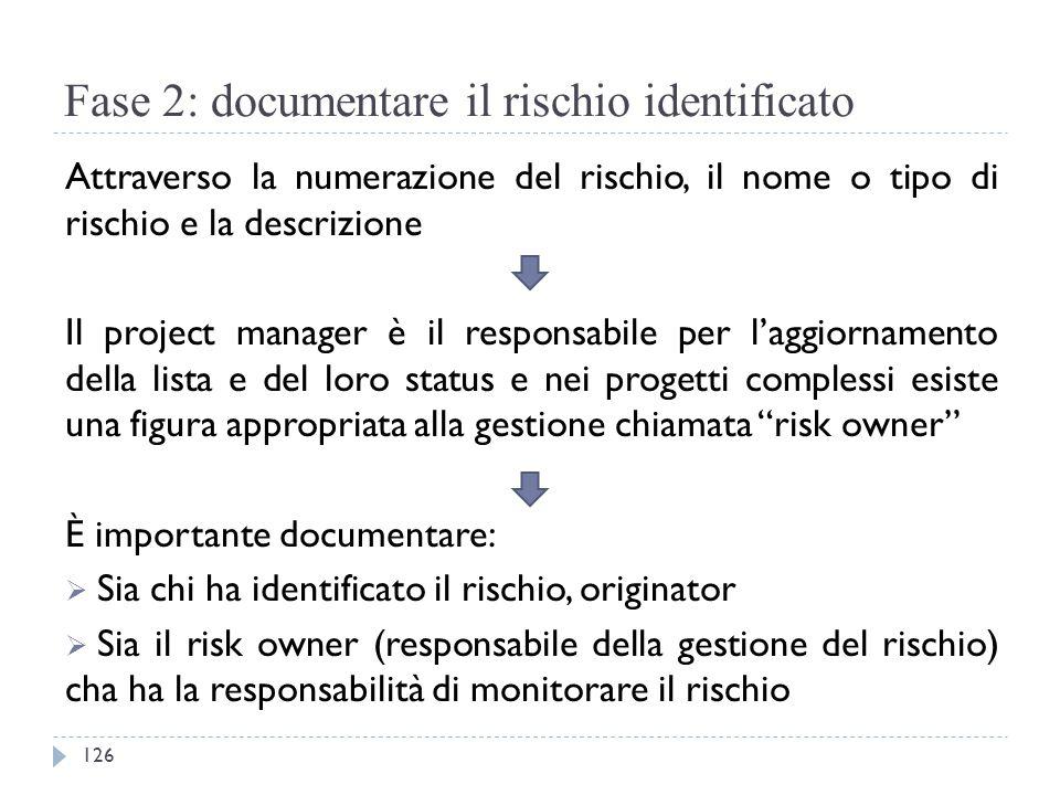 Fase 2: documentare il rischio identificato