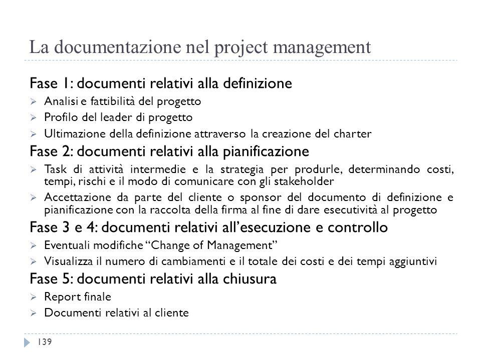 La documentazione nel project management