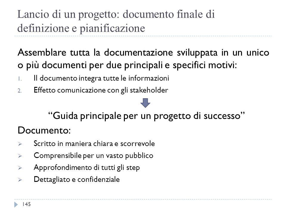 Lancio di un progetto: documento finale di definizione e pianificazione