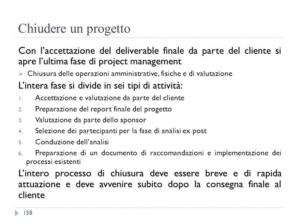 Chiudere un progetto Con l'accettazione del deliverable finale da parte del cliente si apre l'ultima fase di project management.