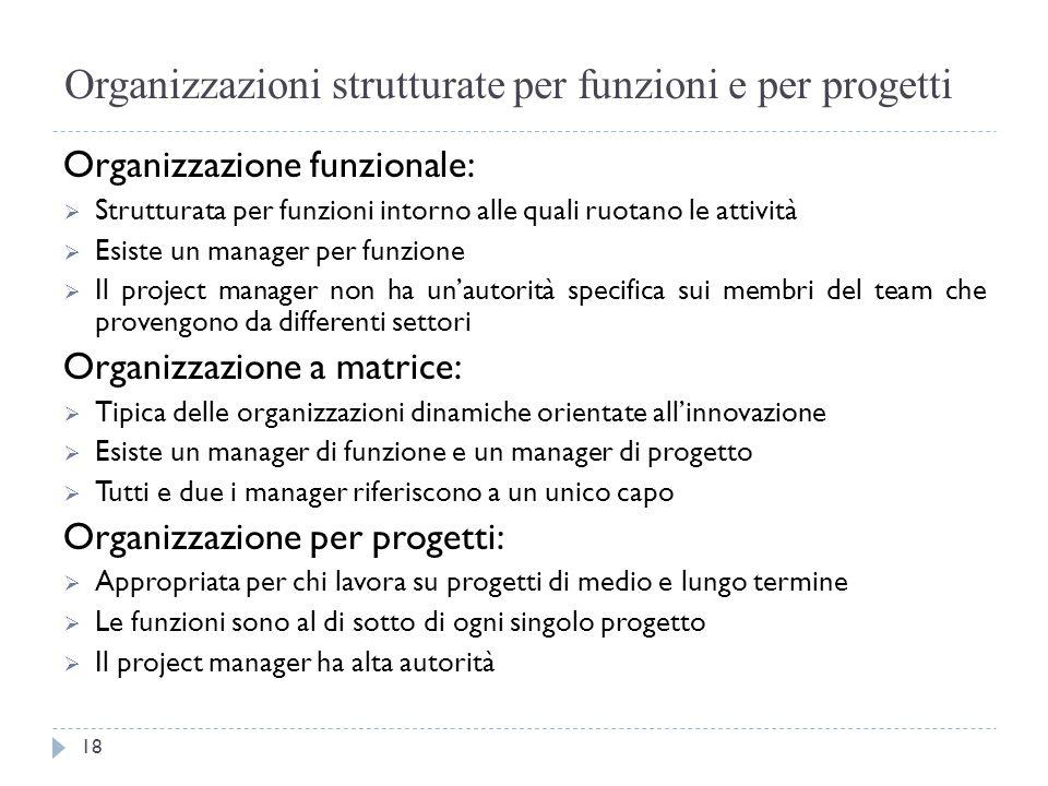 Organizzazioni strutturate per funzioni e per progetti