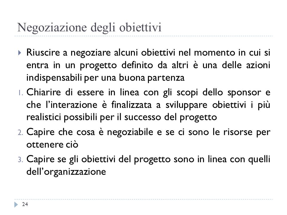 Negoziazione degli obiettivi