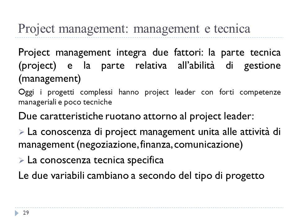 Project management: management e tecnica