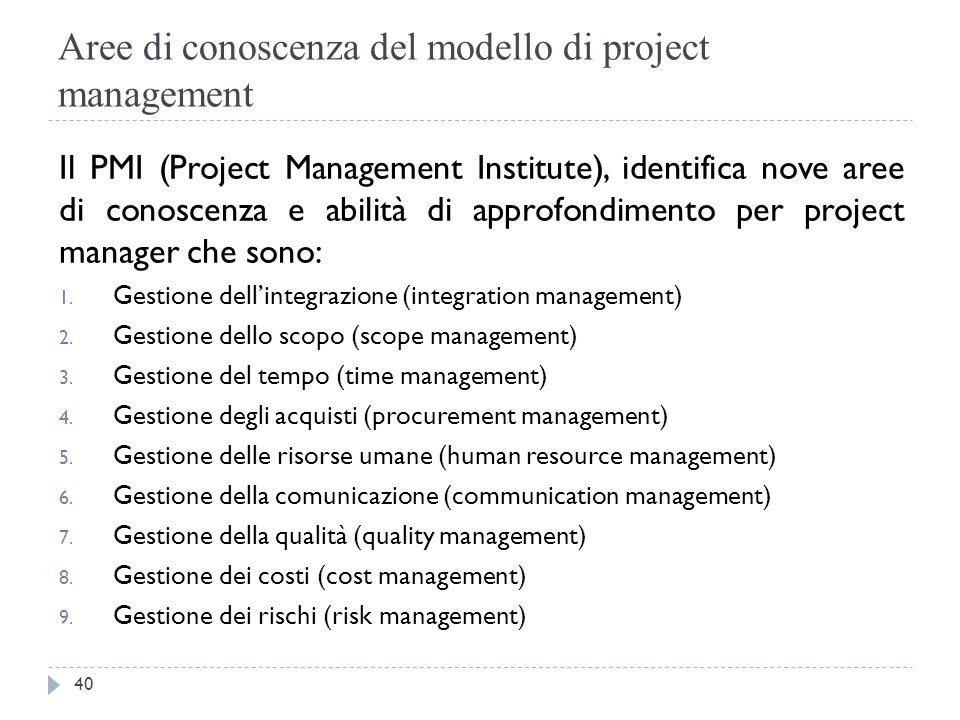 Aree di conoscenza del modello di project management
