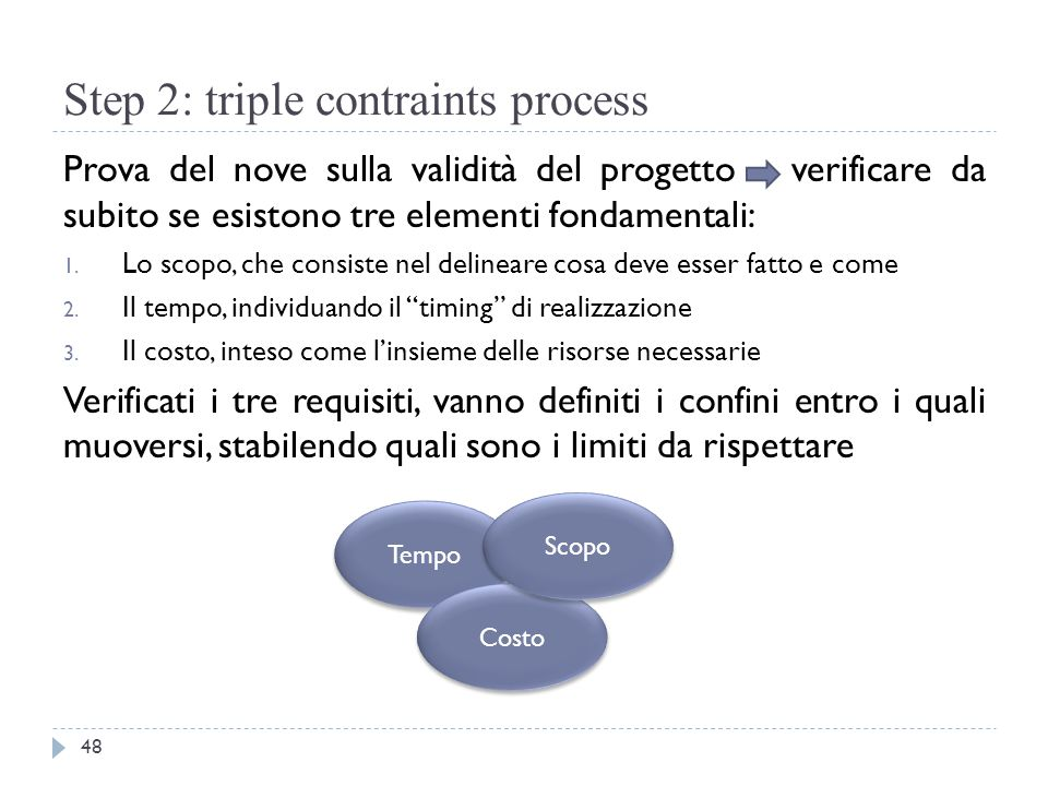 Step 2: triple contraints process