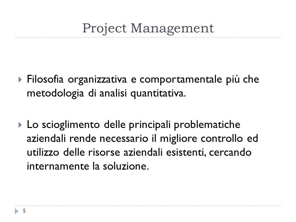 Project Management Filosofia organizzativa e comportamentale più che metodologia di analisi quantitativa.