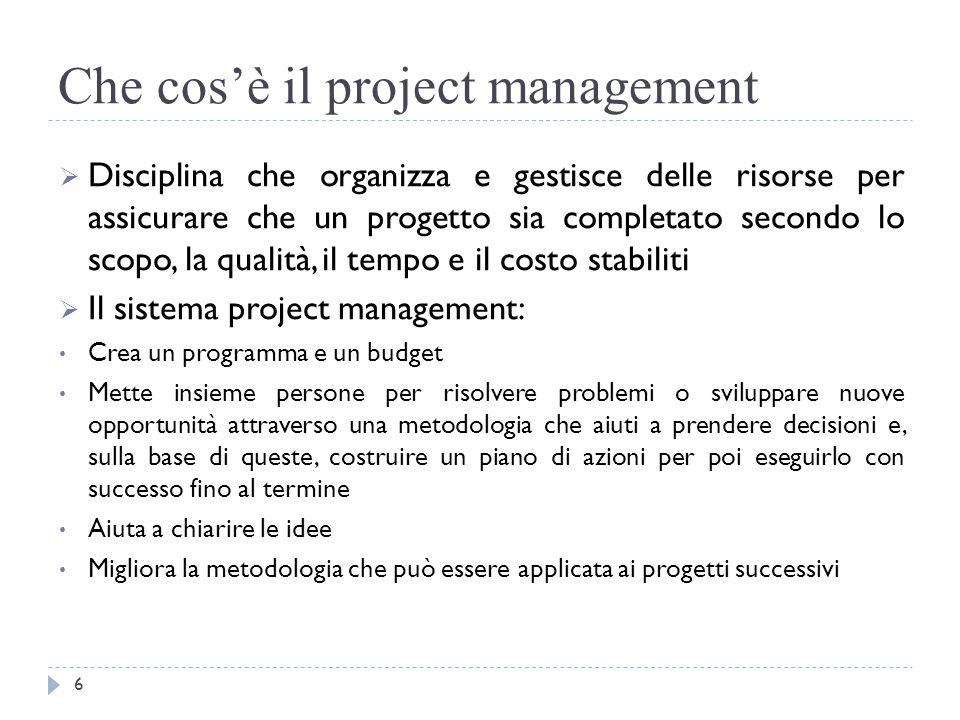 Che cos'è il project management