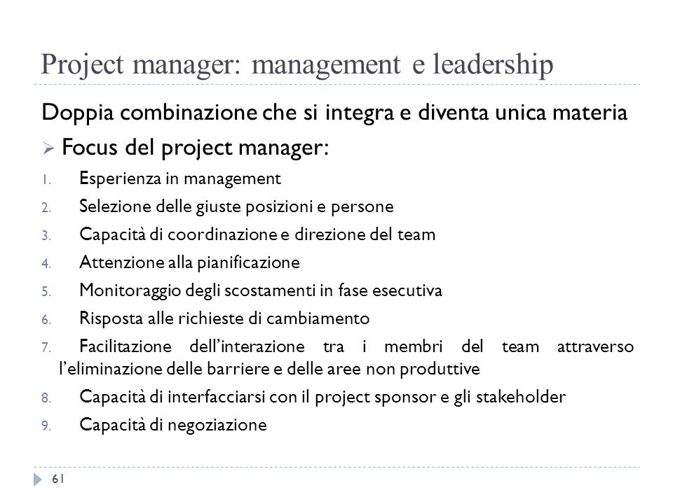Project manager: management e leadership