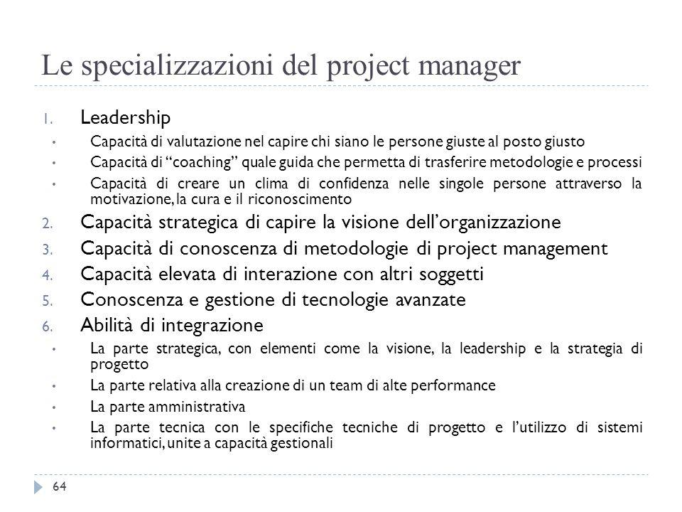 Le specializzazioni del project manager