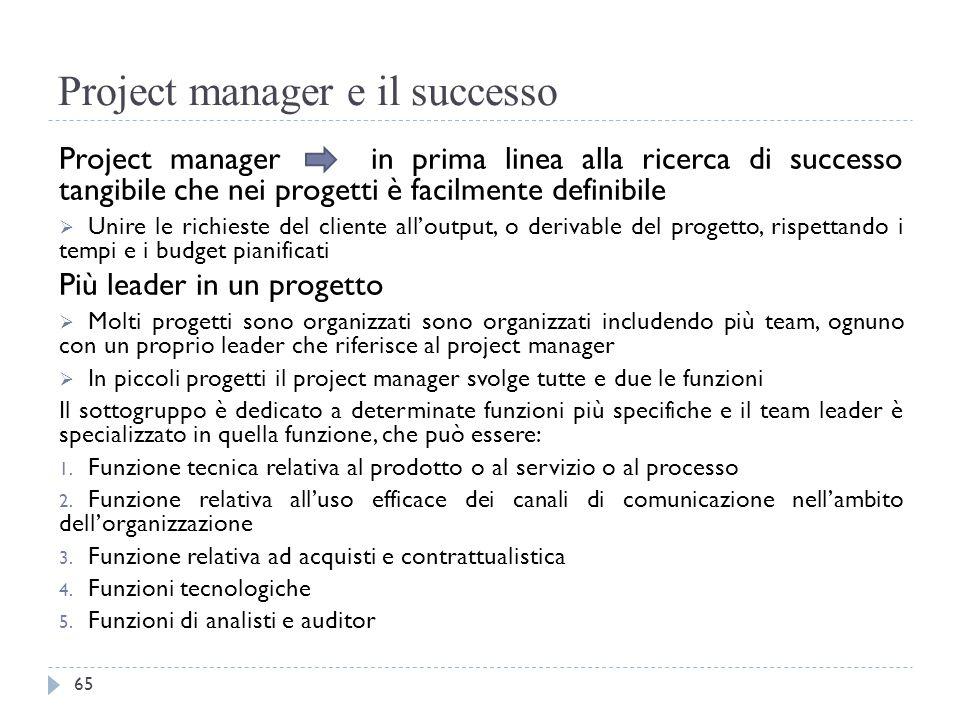 Project manager e il successo