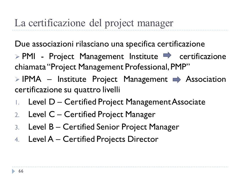 La certificazione del project manager