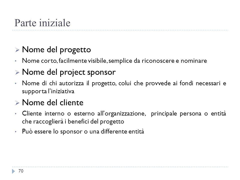 Parte iniziale Nome del progetto Nome del project sponsor