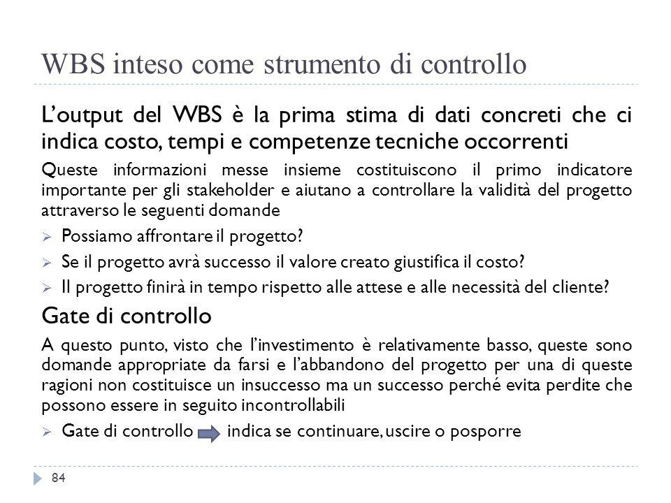 WBS inteso come strumento di controllo