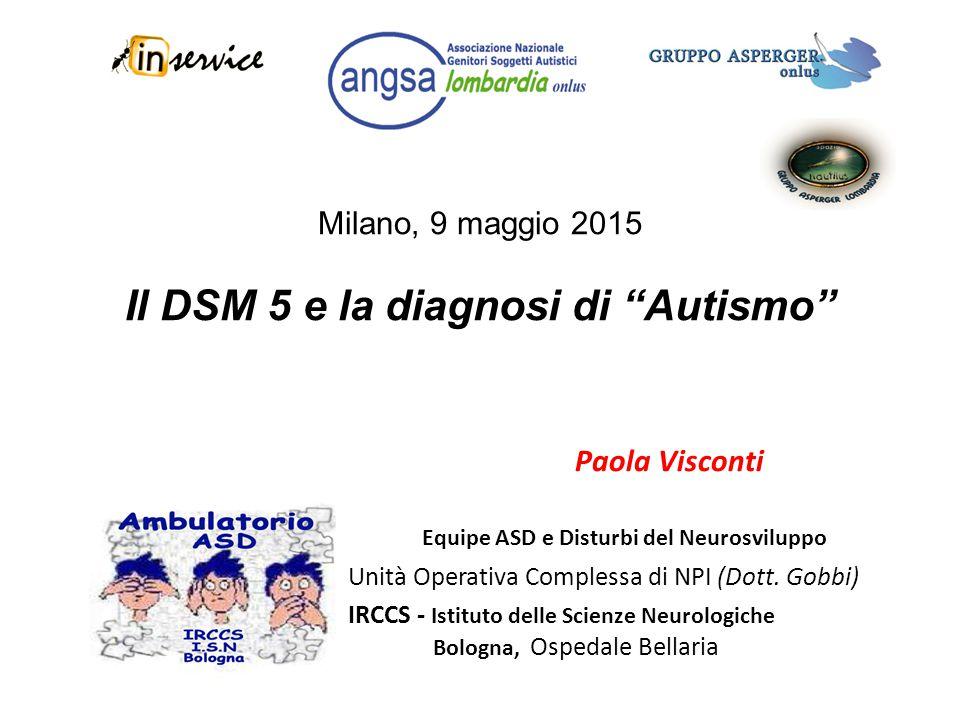 Milano, 9 maggio 2015 Il DSM 5 e la diagnosi di Autismo
